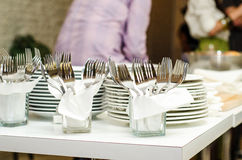 Forks and plates Stock Photos