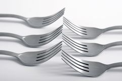 Forks in a row Royalty Free Stock Photo