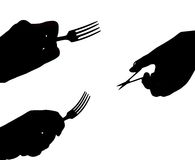 Forks and scissors. The Different subjects in hand. The Vector Stock Image
