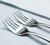 Forks set on restaurant table macro shot Stock Photography