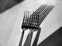 Forks and Shadows. Two forks and their shadows on a wooden table. Converted to black and white royalty free stock image