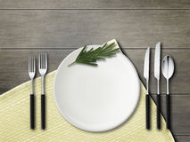 Forks, spoon, knives, plates. Mockup. Rustic still life. royalty free stock images