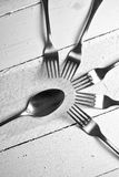 Forks and spoon on wood table Royalty Free Stock Photos