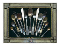 Forks and spoons. In the frame Stock Photos