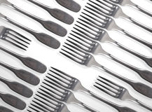 Forks on table. Two in opposite for a fight of food or business idea Royalty Free Stock Photos