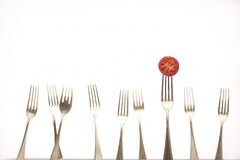 Forks & Tomato Stock Photo
