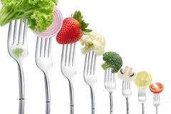 Forks with vegetables Royalty Free Stock Photos