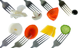 Forks with vegetables Royalty Free Stock Images