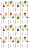 Forks with vegetables pattern. Royalty Free Stock Image