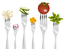 Forks and vegetables sequence. Royalty Free Stock Image