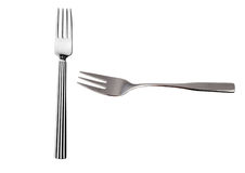 Forks on White Background. Silver shiny cutlery metal cookware cooking forks dinner tool kitchenware steel royalty free stock photos