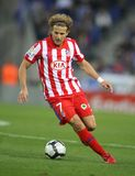 Forlan of Atletico de Madrid. Forlan of Atletico Madrid in action during a Spanish League match between Espanyol and Atletico Madrid at the Estadi Cornella on Stock Photography