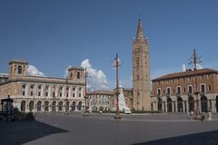 Forli Italy: Aurelio Saffi square with church of San Mercurial Stock Photography