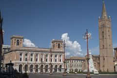 Forli Italy: Aurelio Saffi square with church of San Mercurial Royalty Free Stock Photo