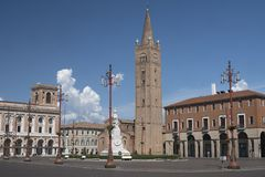 Forli Italy: Aurelio Saffi square with church of San Mercurial. Forli Emilia Romagna, Italy: the Aurelio Saffi square with church of San Mercuriale and other Stock Photo