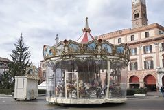 View of a Carousel. Forli, Italy - January 03, 2018 : Carousel in Forli square during christmas time Stock Photography