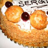 Happy birthday cake. Forli, Italy - March 28, 2003 : Happy birthday cake for sergio stock images