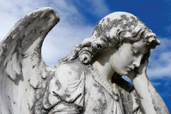 Forlorn angel. Statue of an sad angel. Sculpture was on top of a gravestone from the 1800's stock photography