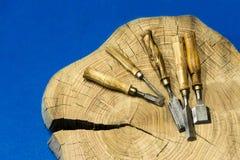 Formões no tronco de madeira Imagens de Stock