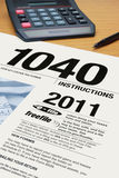 Form 1040 Income Tax Instructions Stock Photo