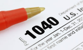 Form 1040 Income Tax Return. Detail with red pen Royalty Free Stock Photography