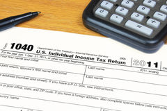 Form 1040 U.S. Income Tax Return for 2011. Form 1040 U.S. Income Tax Return for the year 2011 Stock Photos