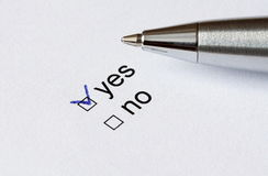Form. Yes or no checkboxes with pen Royalty Free Stock Images