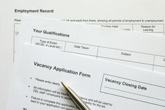 Form. Application form stock photos