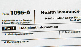 Form 1095 for the Affordable Health Care Act stock photos