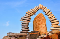 Form of a arch. Stones laid out in the form of a arch on the sea coast Stock Photography