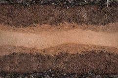 Form av jordlager, dess färg och texturer royaltyfri bild