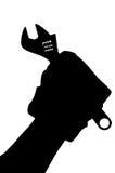Form der Hand in einem Handschuh mit einem Schlüssel Lizenzfreie Stockfotos