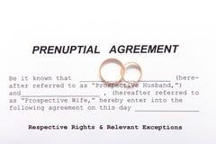 Form der Prenuptial Vereinbarung und zwei Eheringe Stockbild