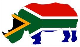 Form des gefährdeten Nashorns in Südafrika mit südafrikanischer Flagge Lizenzfreie Stockfotografie