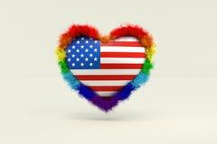 Form des Herzens in der Regenbogen-Farbe gegen Unterscheidung in Americ stock abbildung
