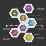 Form des Hexagons 3D infographic auf schwarzem Hintergrund Lizenzfreie Stockbilder