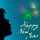 Form des Mädchens und der Feuerwerke im neuen Jahr Stockfotografie