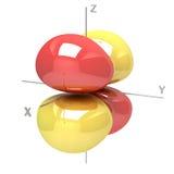 Form des Orbitals 3Dxz M-1 auf weißem Hintergrund Availa Stockfotos