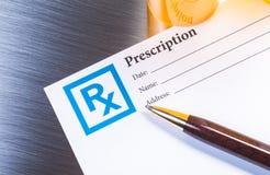 Form des verschreibungspflichtigen Medikaments Stockbilder