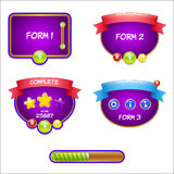 Form design game user interface for video games Stock Photos