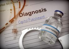 Form of diagnosis and resolution of capital punishment, injection of lethal sodium thiopental anesthesia. Conceptual image Royalty Free Stock Image