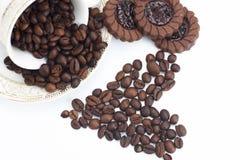 form för bönakaffehjärta Arkivbild