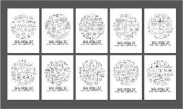 Form för cirkel för dataklotterillustration på tapetbackg för papper a4 Royaltyfri Bild