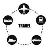 Form för cirkel för transportsymbolssvart Stock Illustrationer