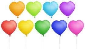 form för färgrik hjärta för ballonger set Royaltyfria Bilder