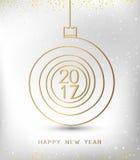 Form för guld 2017 för lyckligt nytt år för glad jul spiral Ideal för xmas-kort eller elegant inbjudan för ferieparti Arkivfoton
