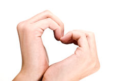 form för handhjärtaförälskelse Arkivbilder