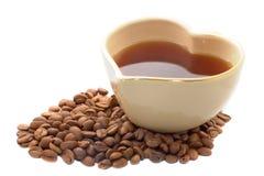 form för hjärta för kaffekopp Arkivbild