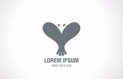 Form för Logo Bird abstrakt begrepphjärta. Idérik förälskelsedesi Royaltyfri Foto
