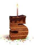 form för nummer för födelsedagcake fem Arkivfoto